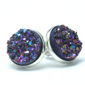 NWT Dragonscale Purple/Blue Geode Earrings